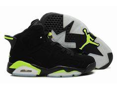 1970f1566b70fb Nike Air Jordan 6 Men Shoes In Black Lawngreen. dailyashoes.com. Jordans ...