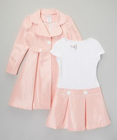 Pink & White Polka Dot Pleated Dress & Coat - Girls