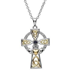 Sapphire and diamond set Trinity Claddagh cross necklace in Sterling Silver, find out more details. Irish Jewelry, Religious Jewelry, Silver Jewelry, Incredible Gifts, Sapphire Stone, Claddagh, Bridal Rings, Gold Bangles, Celtic Crosses