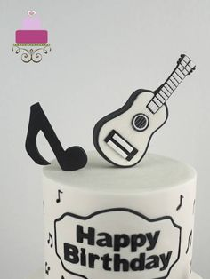 I made this fondant guitar cake topper for a musical themed birthday cake. The cake was a 2 tier cake, and the fondant guitar was the topper. I made the guitar entirely in fondant (except for the guitar strings that were made using thread). Guitar Birthday Cakes, Guitar Cake, Themed Birthday Cakes, Birthday Bash, Creative Cake Decorating, Cake Decorating Techniques, Decorating Cakes, Cake Topper Tutorial, Cake Toppers