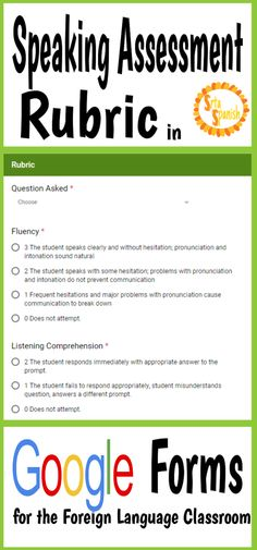 Speaking Assessment Rubric in Google Forms – Srta Spanish