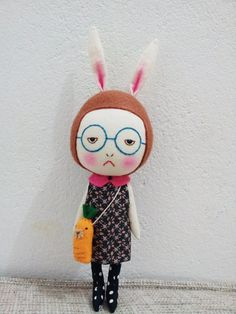 Sad+girl+with+bunny+ears+on+head+along+with+a+by+EEchingHandmade,+$28.00