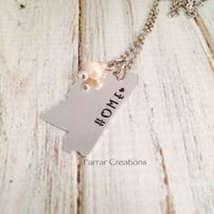 Mississippi Hand Stamped Necklace - Home, My State, State Love, Mississippi, State shaped Necklace on Etsy, $28.00
