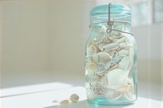 I have filled many, many blue mason jars with my beach finds!!