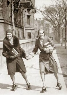 Two students rollerskating along Midway Plaisance, University of Chicago, CHUCKMAN'S COLLECTION (CHICAGO POSTCARDS) VOLUME 01: January 2014