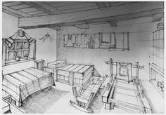 Interior taranesc by AzFaka Architecture Drawings, Architecture Design, 1 Point Perspective Drawing, Natural Architecture, Interior Design Sketches, House Sketch, Cottage Style Homes, Design Case, Paint Designs