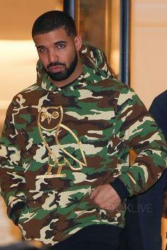 Drake wearing  OVO Custom Camo Owl Logo Hoodie