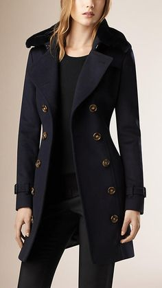 Navy Fur Collar Wool Cashmere Trench Coat - Burberry