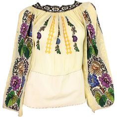 Pre-owned 1930's Eastern European Embroidered Blouse with Grapevine... ($750) ❤ liked on Polyvore featuring tops, blouses, floral embroidered top, beige blouse, embroidered blouse, floral blouse and embroidery tops