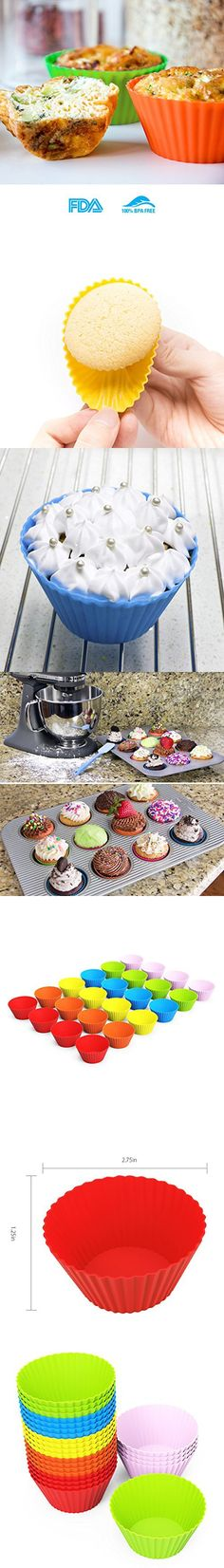 EXVI 24 Piece Silicone Baking Cups Cupcake Liners Muffin Cupcake Molds Sets - Six Vibrant Colors Muffin Cupcake, Cupcake Mold, Cupcake Liners, Baking Cups, Vibrant Colors, Vivid Colors