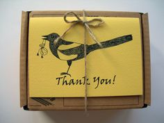 Magpie Thank You Card. One folded card. 5 by IsePaperAndCraft