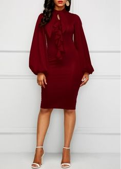Wine Red Lantern Sleeve Cutout Sheath Dress   Rosewe.com - USD $31.74