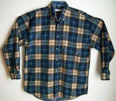 Men's Natural Issue XL Shirt Blue Tan Gray Plaid Long Sleeve Button-Front  #NaturalIssue #ButtonFront