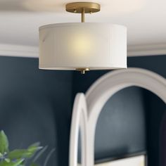New Glenrock 2 - Light 13 Shaded Drum Semi Flush Mount by Three Posts Lighting Home Decor Furniture. Fashion is a popular style Bedroom Light Fixtures, Bedroom Lighting, Vanity Lighting, Cool Lighting, Bedroom Ceiling, Lighting Ideas, Pendant Lighting, Bedroom Decor, Semi Flush Ceiling Lights