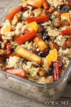 Sałatka z kurczakiem i grillowanymi w miodzie warzywami