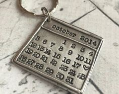 Gift For Him Calendar Keychain Silver by whiteliliedesigns