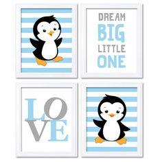Penguin Nursery Art Baby Blue Grey Dream Big by KidsNurseryArt