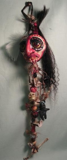 VooDoo Tribal Hanging Doll OOAK shells skulls bones beads feathers rusted chains twine and more