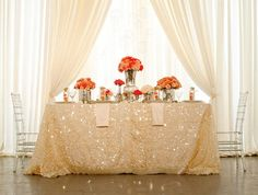 glitter tablecloth for bridal table.