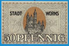 Germany worms 50 pfennig pf 1919 banknote notgeld antique w stamp