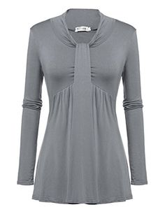 Meaneor Womens Knotted Front Pullover Tunic Top Casual Blouse with PleatsGRS * You can get additional details at the image link.