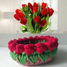 """""""Цветы, как люди, на добро щедры и, людям нежность отдавая, они цветут, сердца обогревая, как маленькие, тёплые костры."""" (с)Вязаная корзинка """"Тюльпанчики"""", высота 5см, диаметр 10см. #вязание #вязанаякорзинка #хендмейд #украинскийхендмейд #хендмейдднепр #ручнаяработа #оригинальныйподарок #домашнийдекор #подарокдлядевушки #подарокдлянее #трикотажнаяпряжа #вязаныетюльпаны #вязаныецветы #весеннийпраздник #madeinukraine #madewithlove #handmadednepr #crochetbasket #foryou #forher Crochet Bowl, Crochet Basket Pattern, Knit Basket, Crochet Patterns, Crochet Tunic, Crochet Yarn, Easy Crochet, Crochet Flowers, Crochet Kitchen"""