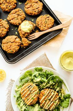 Sweet Potato & Lentil Cakes with Lemony Avocado Sauce // Blissful Basil
