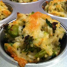 Baked Cheddar Broccoli Rice Cups Click photo for link to the recipe. Yum!