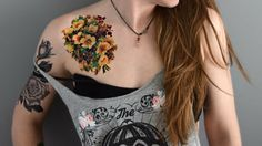 Large temporary tattoo - Floral Tattoo, Vintage, Yellow Flower, Floral, Big tattoo, inked