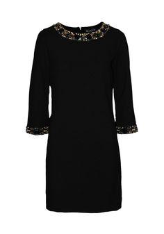 149 €   Para la noche acompaña de chaqueta negra de flecos   Vestido corto, tejido liso y elástico, de manga larga   ENEEFE Online #moda #mujer #vestidos #fiesta