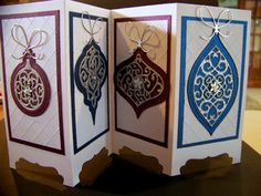 Ann Greenspan's Crafts: Spellbinders Heirloom Reflections 4 panel screen card Stamped Christmas Cards, Christmas Cards To Make, Christmas Greeting Cards, Handmade Christmas, Holiday Cards, Winter Cards, Christmas Candy, Screen Cards, Advent