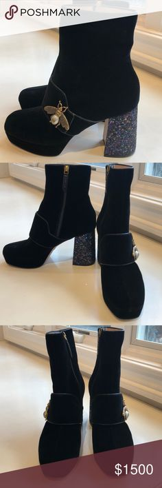 477f0fcce NIB Gucci Soko glitter heel bee velvet boot. 8.5 New in original box with  dustbags
