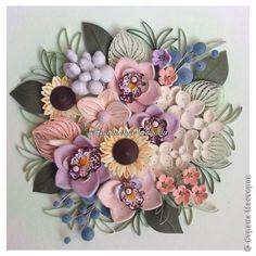 Картина панно рисунок Квиллинг Цветочное панно Бумага Бумажные полосы Проволока фото 1