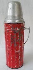 Vintage Retro Red Thermos Aluminium Rustic Fireman Workman Decorator Photo Prop