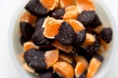 Neat idea. Dip mandarin orange or orange slices in dark chocolate and sprinkle with sea salt. Good snack idea for Flat Belly Diet!