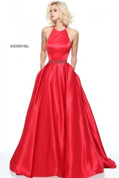Halter Sherri Hill 51036 Red Satin Pageant Dress for Prom Sherri Hill Homecoming Dresses, Cute Prom Dresses, Prom Dresses 2017, Long Prom Gowns, Prom Dresses For Sale, Junior Dresses, Formal Dresses, Sherri Hill Red Dress, Dress Sale
