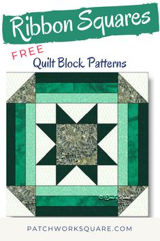 """The RIBBON SQUARES quilt block features a """"Sawtooth Star"""" as its centre and is framed with additional strips and half square triangles. This quilt block makes for striking quilts. Quilt Square Patterns, Beginner Quilt Patterns, Quilt Block Patterns, Pattern Blocks, Star Quilt Blocks, Star Quilts, Half Square Triangle Quilts, Square Quilt, Flying Geese Quilt"""
