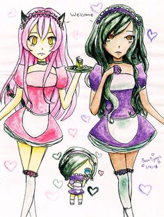 Aphmau and Kawii~chan working at maid cafe found it online