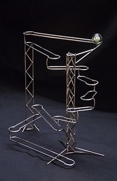 Stainless steel kinetic sculpture, rolling ball sculpture, hand-formed and… Marble Run Sculpture, Rolling Ball Sculpture, Geometric Sculpture, Marble Maze, Marble Runs, Marble Tracks, Mobiles, Custom Photo Frames, Marble Machine