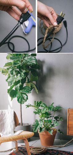 Forrar un cable a veces puede ser una buena solución para integrarlo dentro de la decoración de una estancia. ¡Existen montones de posibilidades!