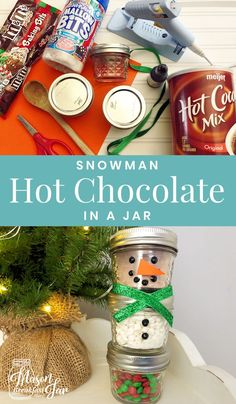 Who wouldn't love receiving this adorable DIY Snowman Mason Jar Hot Chocolate gi. Who wouldn't love receiving this adorable DIY Snowman Mason Jar Hot Chocolate gift idea? This Mason jar Christmas gift i. Mason Jar Christmas Decorations, Mason Jar Christmas Gifts, Diy Holiday Gifts, Mason Jar Gifts, Homemade Christmas Gifts, Mason Jar Diy, Homemade Gifts, Diy Gifts, Gift Jars