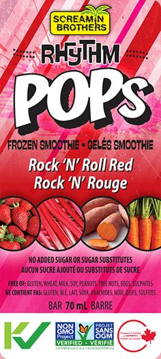 Rock 'N' Roll Red Rhythm Pops! A frozen fruit and veggie smoothie with no added sugar. Kids love it! #Smoothie #FrozenTreat #DairyFree #CleanEating #KidsFood #KidFriendly