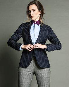 Shawl Jacket in Navy Pinstripe over a Blue Boyfriend Chambray Shirt with  Plum Collar. Paired 73027396fe886