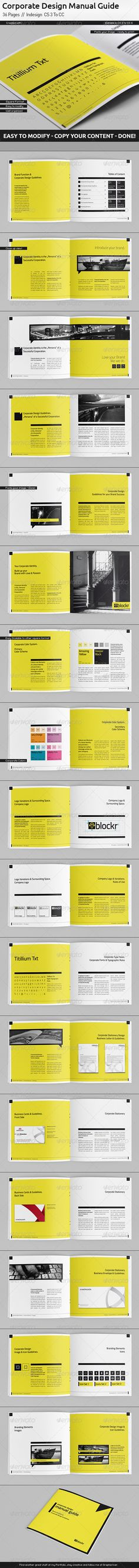 Corporate Design Manual Guide Square // 36 Pages Corporate Brochure Template by egotype. Booklet Design, Book Design Layout, Graphic Design Layouts, Print Layout, Page Design, Graphic Design Inspiration, Corporate Identity Design, Branding Design, Corporate Brochure