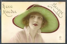 PL105-ART-DECO-HIGH-FASHION-FLAPPER-LADY-Large-HAT-KITSCH-Tinted-PHOTO-pc