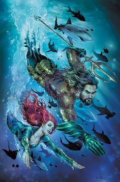 """DC Comics is really starting to build hype for Aquaman and that includes launching some movie-themed variant covers for the upcoming """"Drowned Earth"""" event. Superman Film, Batman And Superman, Batman Art, Captain Marvel, Marvel Dc, Marvel Comics, Ben Affleck, Wallpaper Bonitos, Justice League Aquaman"""