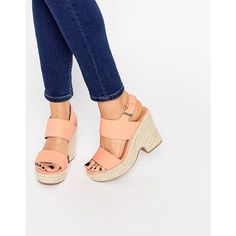 ASOS TELL ALL Espadrille Wedge Sandals (66 CAD) ❤ liked on Polyvore featuring shoes, sandals, orange, espadrille sandals, orange wedge sandals, woven wedge sandals, orange shoes and vegan shoes