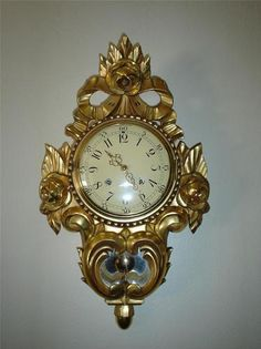 Gorgeous  WESTERSTRAND GILT ROCOCO Gold Wood Pendulum Clock Made In Sweden - Works Great!