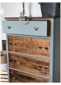 Refurbished Dressers, Old Dressers, Tall Dresser, Two Toned Dresser, Restored Dresser, Dresser Refinish, Painted Dressers, Dresser Vanity, Chest Of Drawers Makeover
