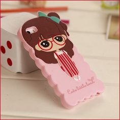 New 3D Cute Girls xiaoxi Soft Silicone Phone cover Case for iPhone 4/4S fundas capinha de celular coque estojo